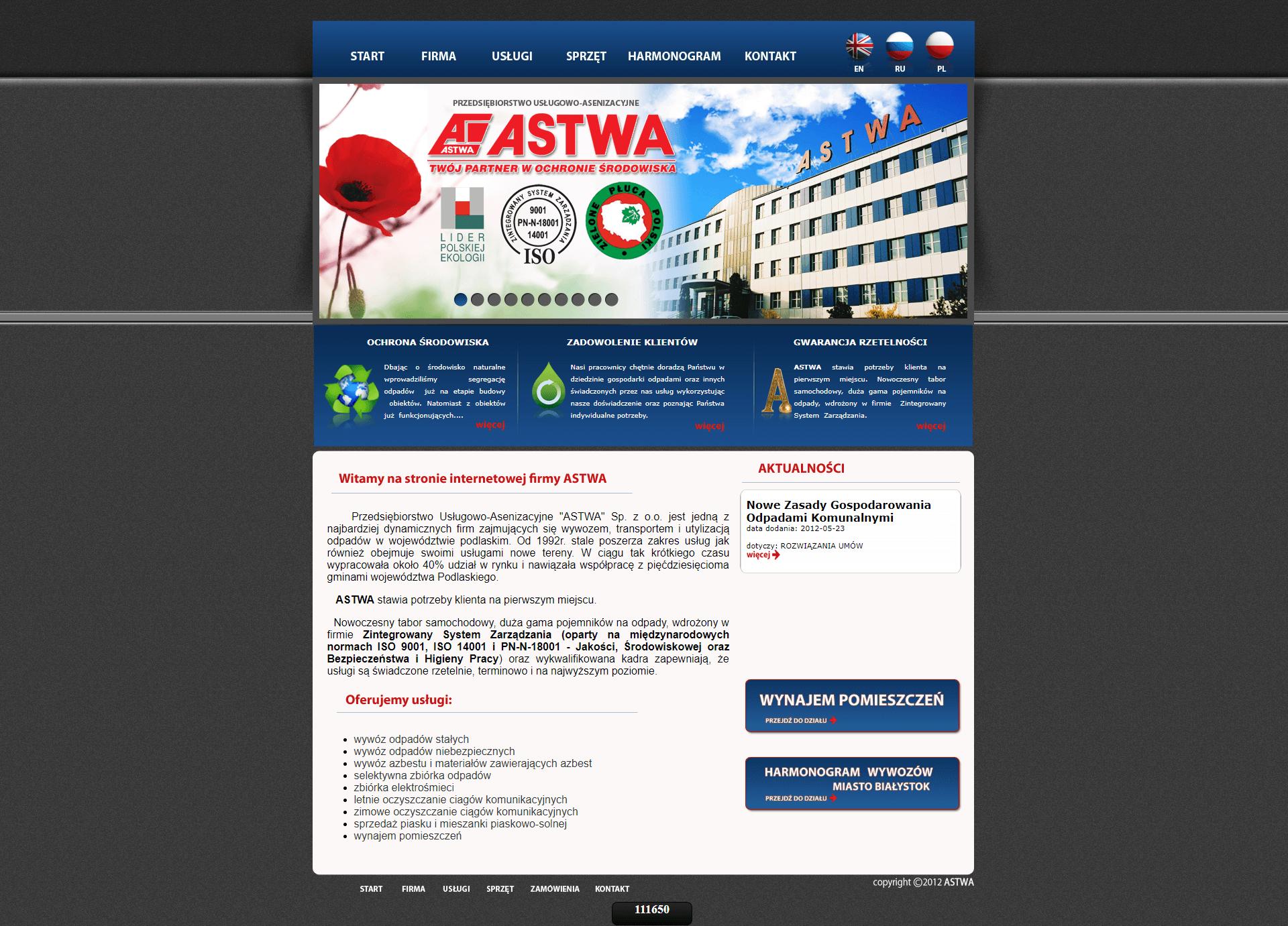 """Przedsiębiorstwo Usługowo-Asenizacyjne """"ASTWA"""" 1"""